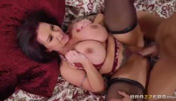 Red headed whore in white stockings rides a massive shaft