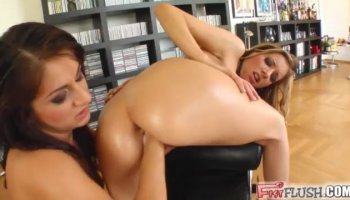 Naughty brunette chick enjoys sucking gently on my pulsating clit